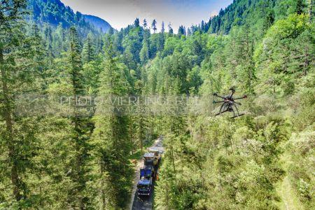 Luftaufnahme Teerarbeiten Nationalpark Berchtesgaden Hirschbichlstrasse